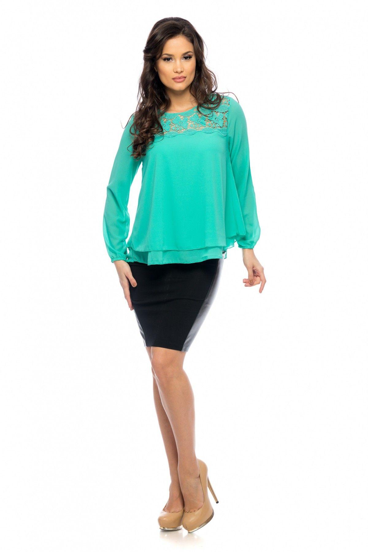 Bluza Lisa Vernil 109 lei Bluza eleganta din voal