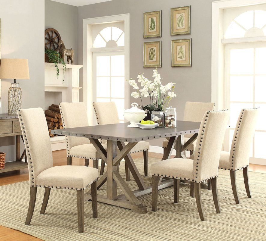 Brighten Up Your Dining Room With This Transitional Style Table And Chair Set The Table Features A Craft Dining Room Sets Large Dining Room Dining Room Spaces