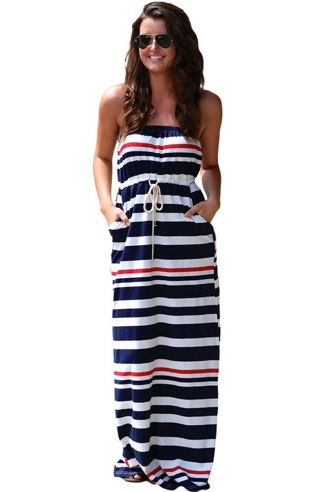 Maxi vestido azul marino de rayas