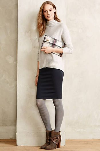 Booties, pencil skirt gray tights, long sweater | Outfit, apparel ...
