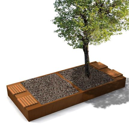 STREETLIFE Solid Green Benches. These green benches are made of weathering resistant steel and is outstanding because of its indicidual seats made of FSCHardwood. The Solid Green Beches are also available with an Open Base, allowing shrubs and trees to root in the soil below