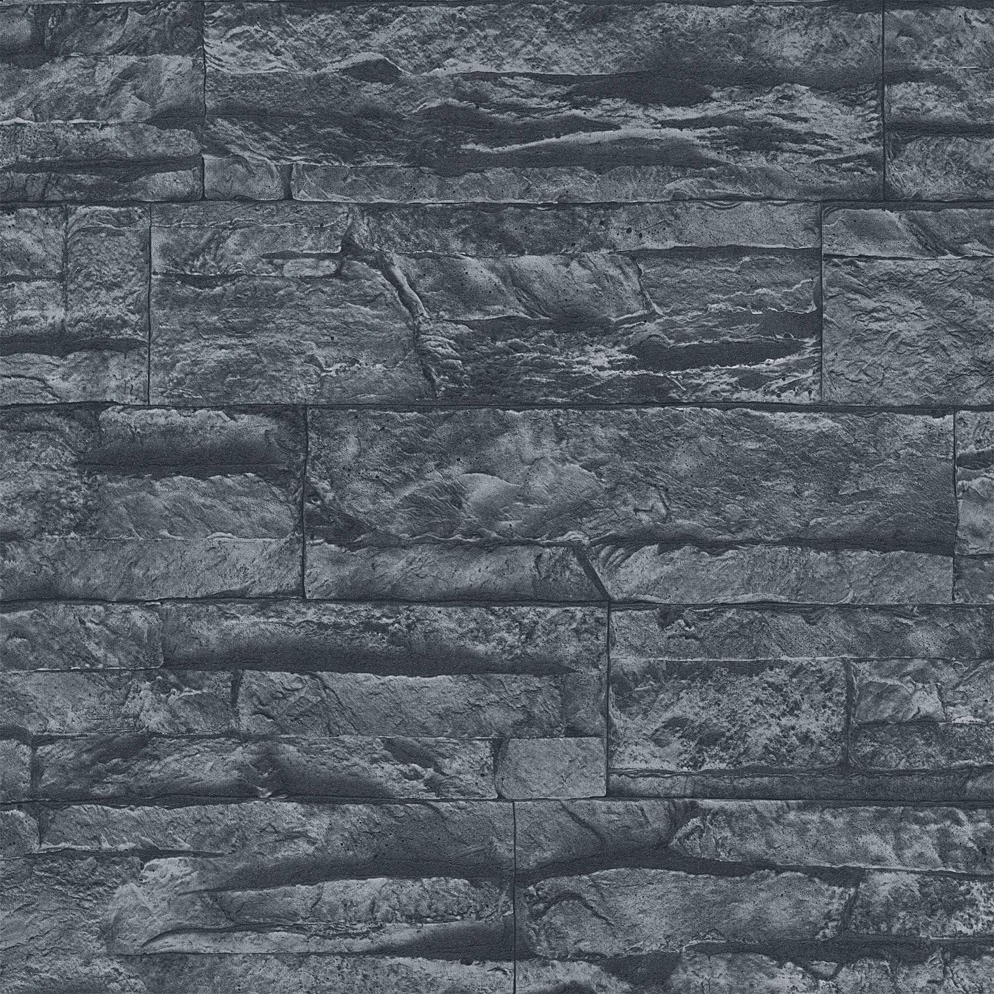 A S Creation Murano Stone Black Wallpaper Departments Diy At B Q Stone Wallpaper Bathroom Wallpaper Trends Brick Effect Wallpaper