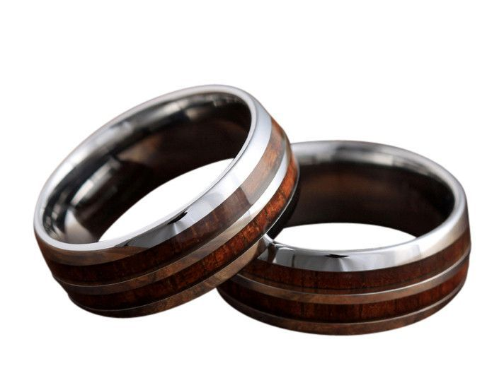 8mm Silver Tungsten Koa Wood Ring With Stripe