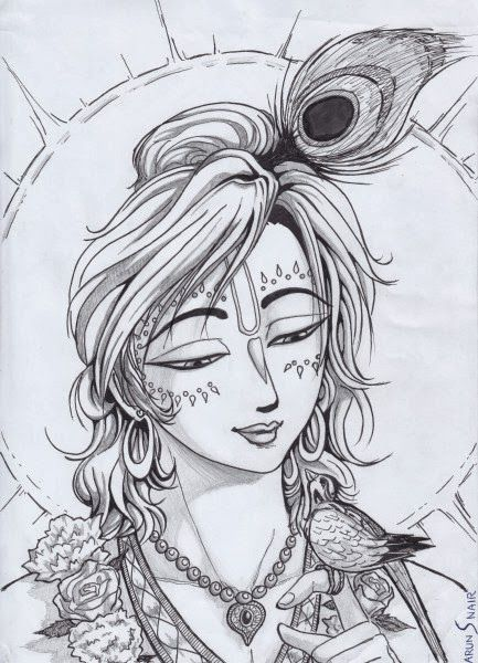 Krishna sketch pic lord krishna pencil sketch