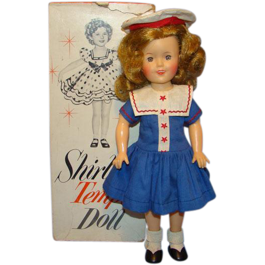 1958 Ideal Shirley Temple Doll Blue Cotton Sailor Dress And Tam 12 Inch Vinyl Sailor Dress Shirley Temple Dolls