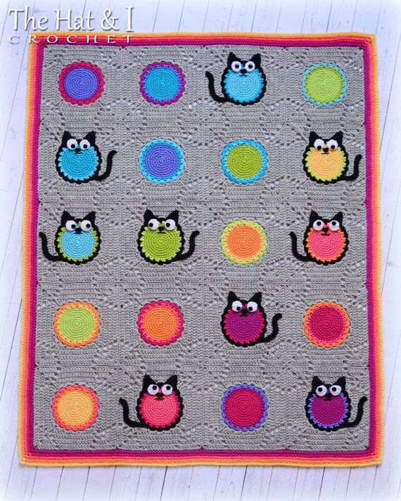 CROCHET PATTERN - Cat Lover Blanket - a colorful cat afghan pattern ...