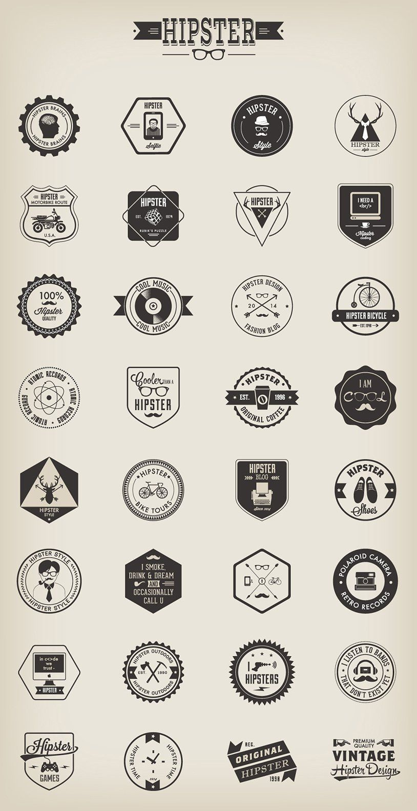 Free Vector Hipster Badges Graphic Design Resources