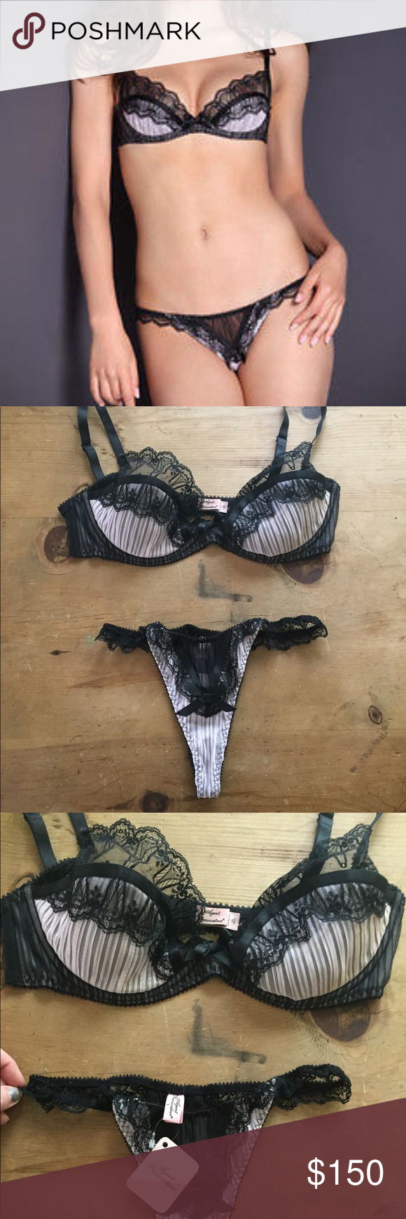 Agent Provocateur Fifi Bra 36D and Thong Large Stunning Authentic black and  pink Agent Provocateur Classic Fifi bra and thong! Bra is 36D and fits true  to ... 39cfec049