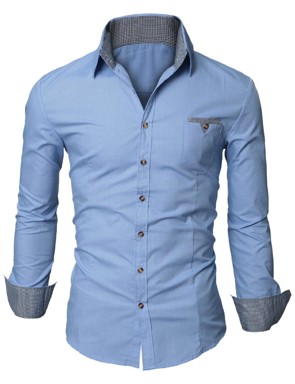 Doublju Mens Dress Shirt With Contrast Neck Band My Style Shirts