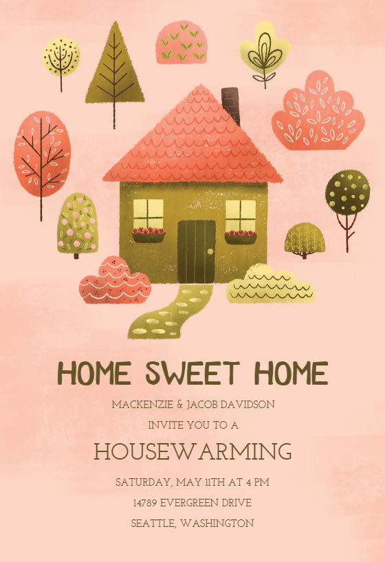 Cozy Pink Housewarming Invitation Template Greetings Island House Warming Invitations House Warming Ceremony Housewarming Invitation Templates