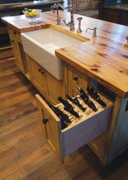 Rustic kitchen island with knife storage - traditional ...