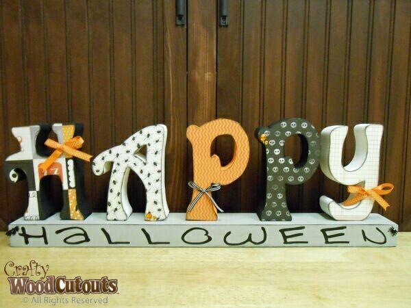 happy halloween wooden letters