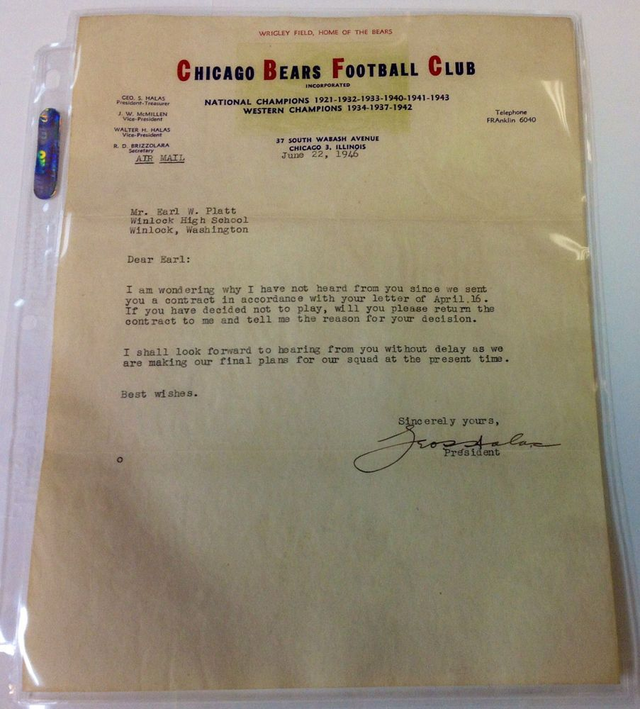 i look forward to hearing from you cover letter%0A      NFL Chicago Bears Football Club Autograph letter by George Halas Owner  GAI