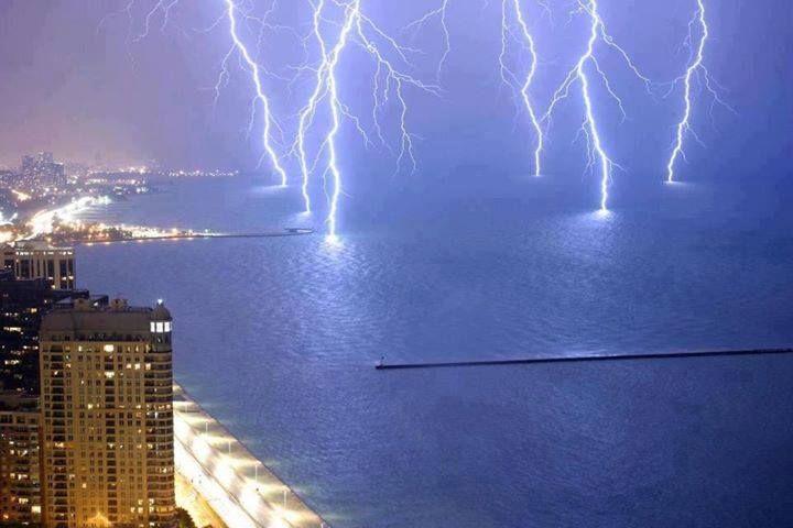 Lightning Strikes Lake Shore Drive on Lake Michigan