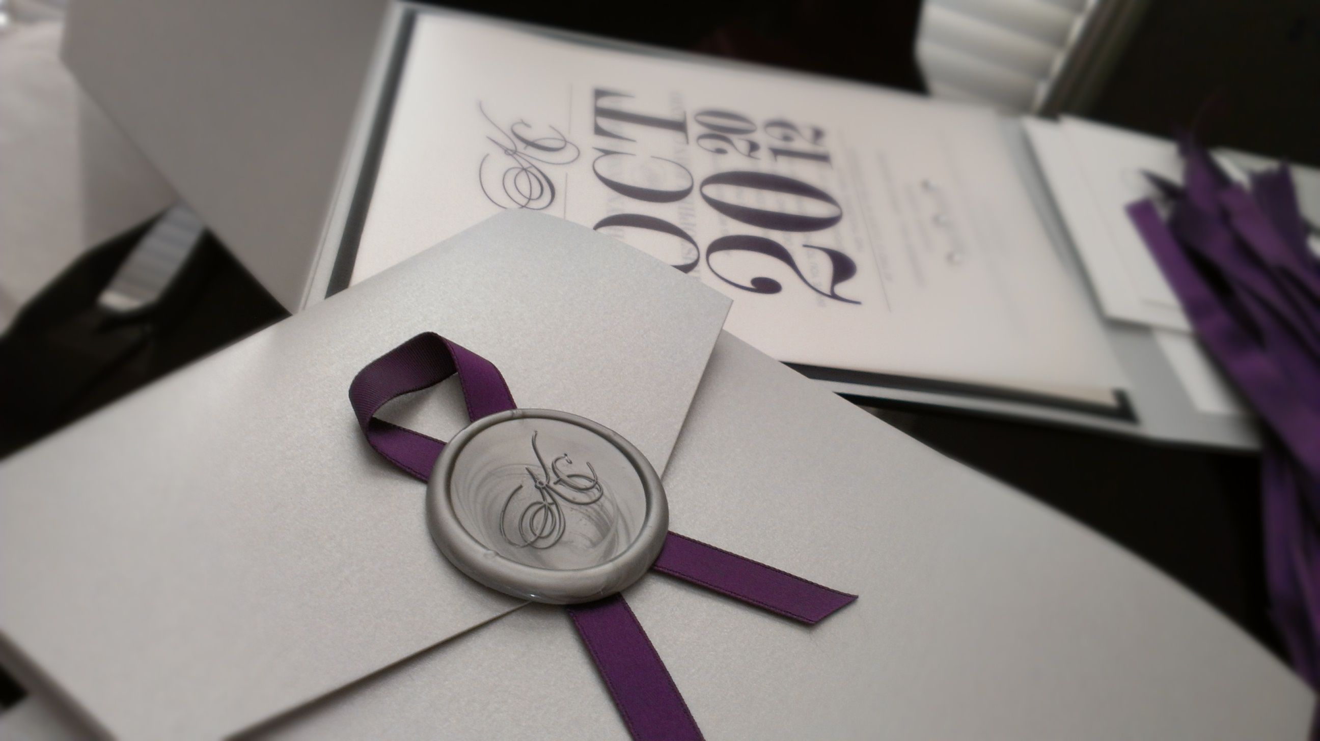 Wax Seals For Wedding Invitations: Purple And Silver Wedding Invitation With Wax Seal Www