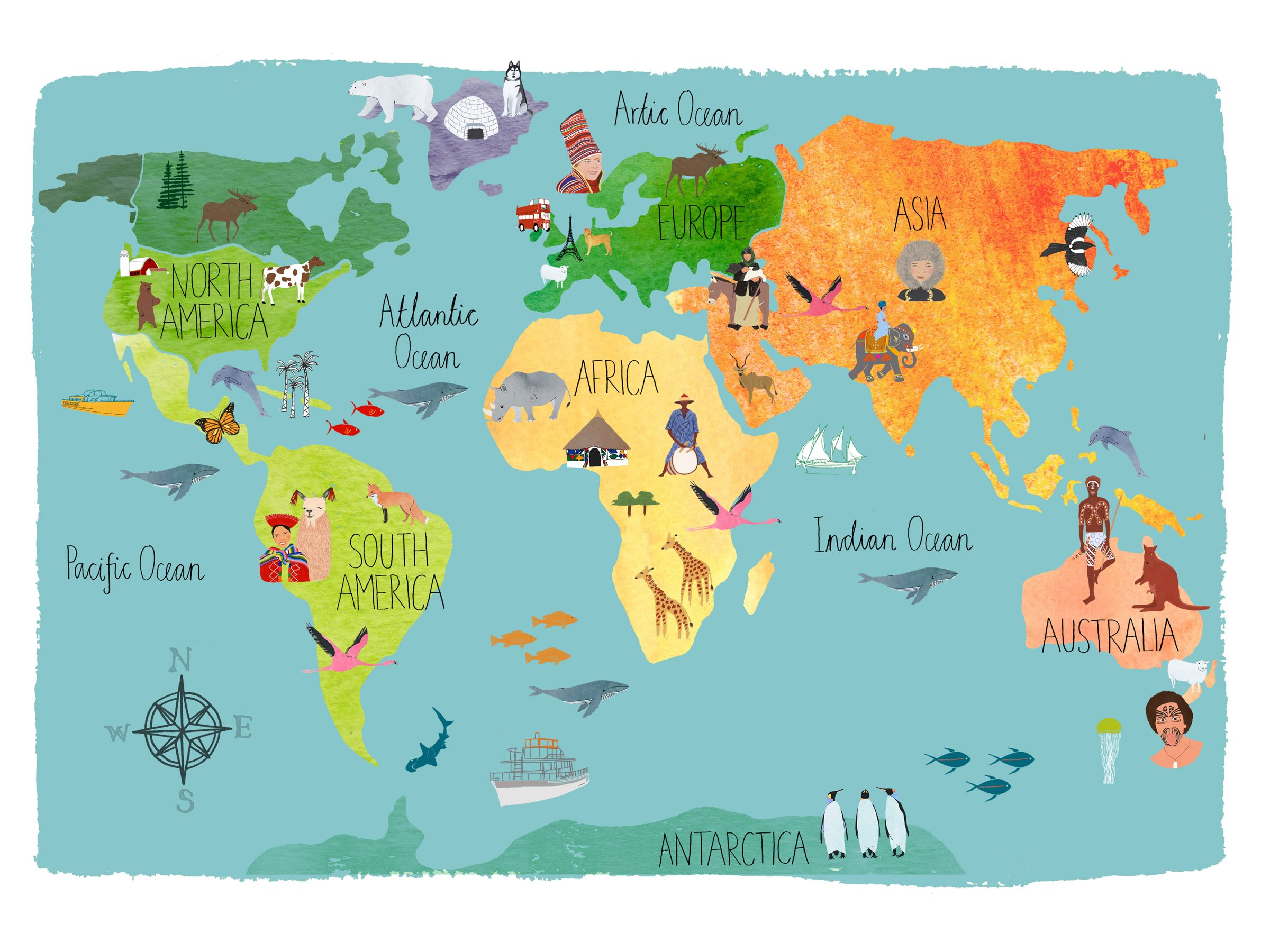 World Continents Map All S