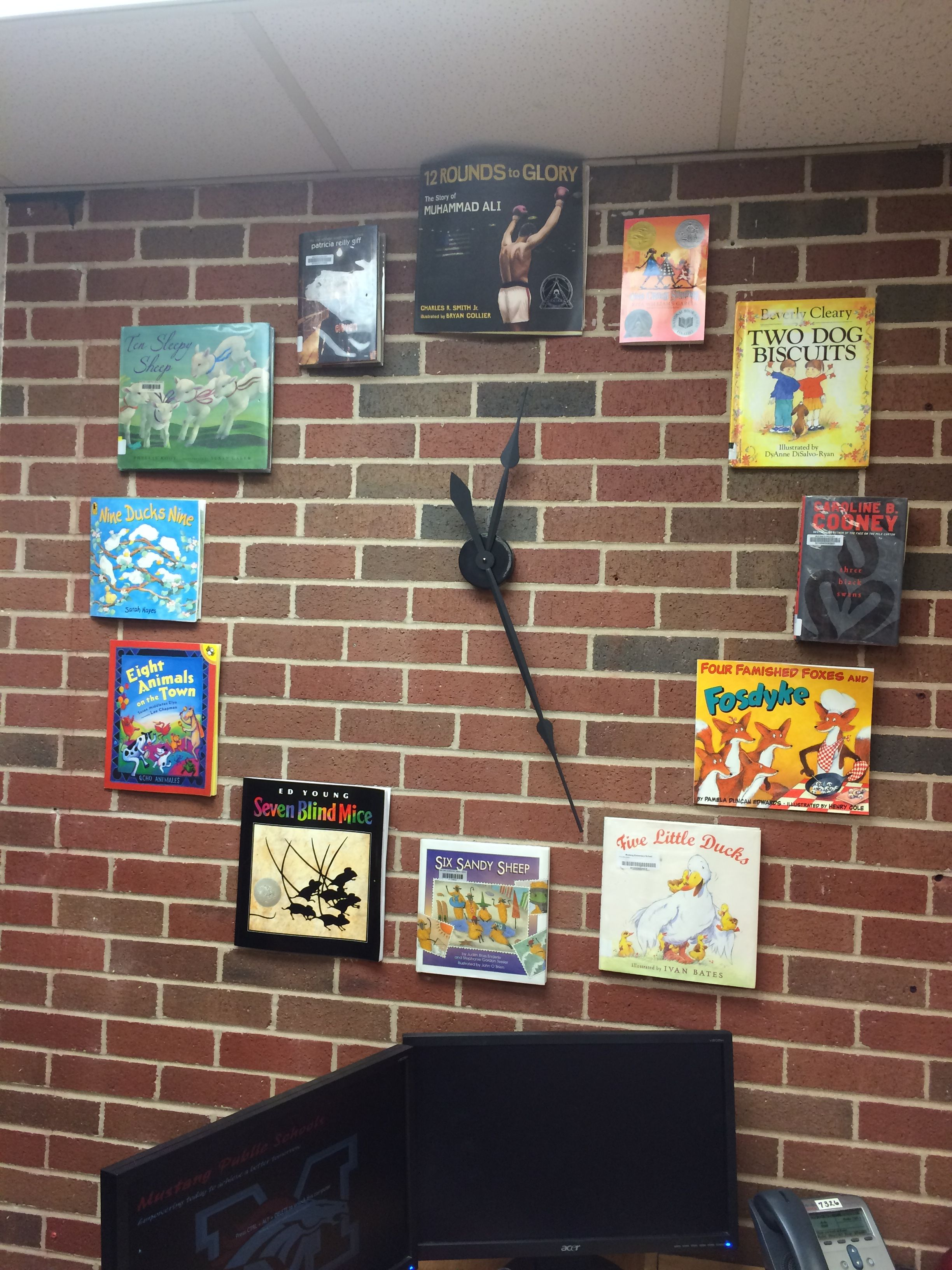 A wall clock made with books and wall clock kit from Hobby Lobby  I