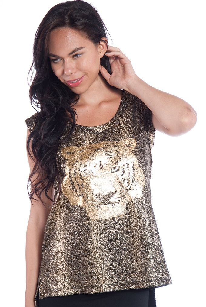 12840547c43 Metallic Tiger Sleeveless Top - Gold from Very J at Lucky 21