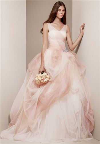 V-Neck pink and white ballgown | VW351157 from White By Vera Wang ...