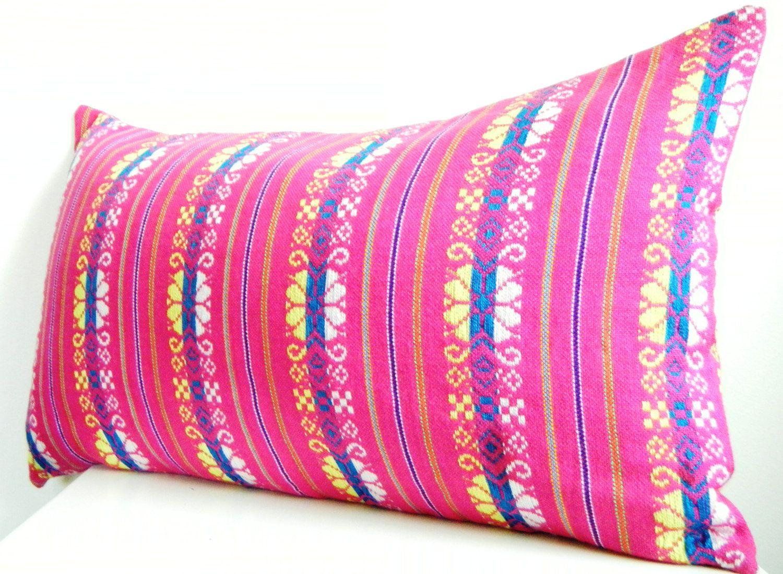 long bolster pillow pink lumbar pillow 12x22 inch bohemian bedding neon pink decorative pillows tribal pillows