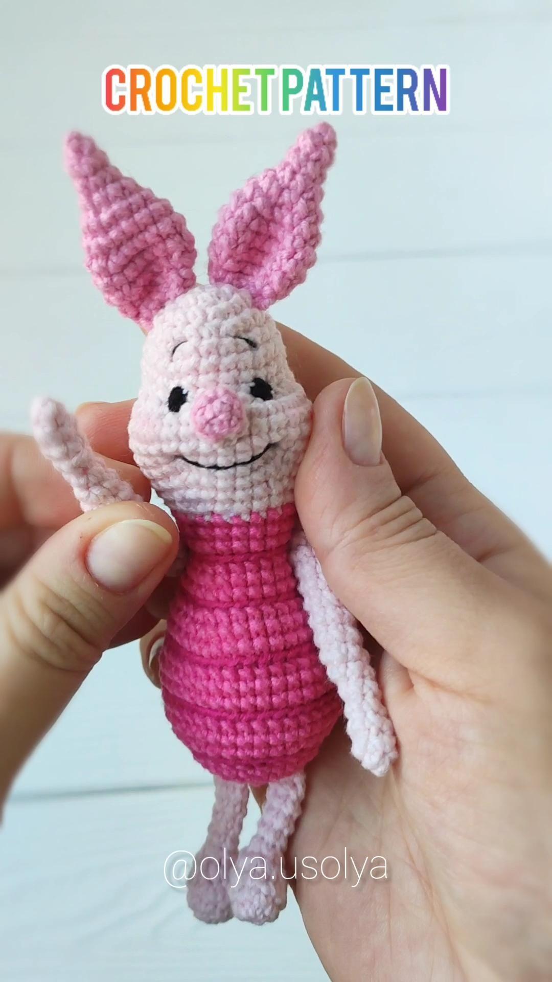 Piglet Crochet pattern,PDF ENGLISH, amigurumi design,  baby gift toy, stuffed toy tutorial, diy