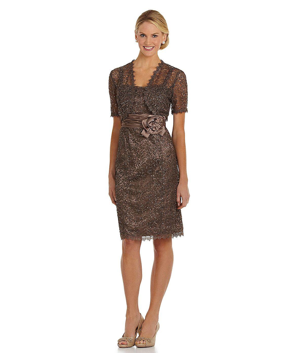 Dillards Wedding Gifts: R & M Richards Sequined Metallic Lace Jacket Dress