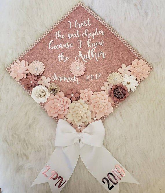 Graduation Cap Toppers/ Flower graduation cap/ Glitter Graduation Cap/ Customizable