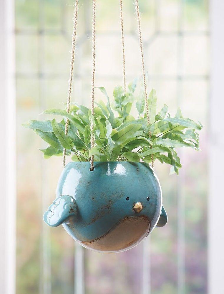 Ceramic bird hanging planter hanging plants hanging
