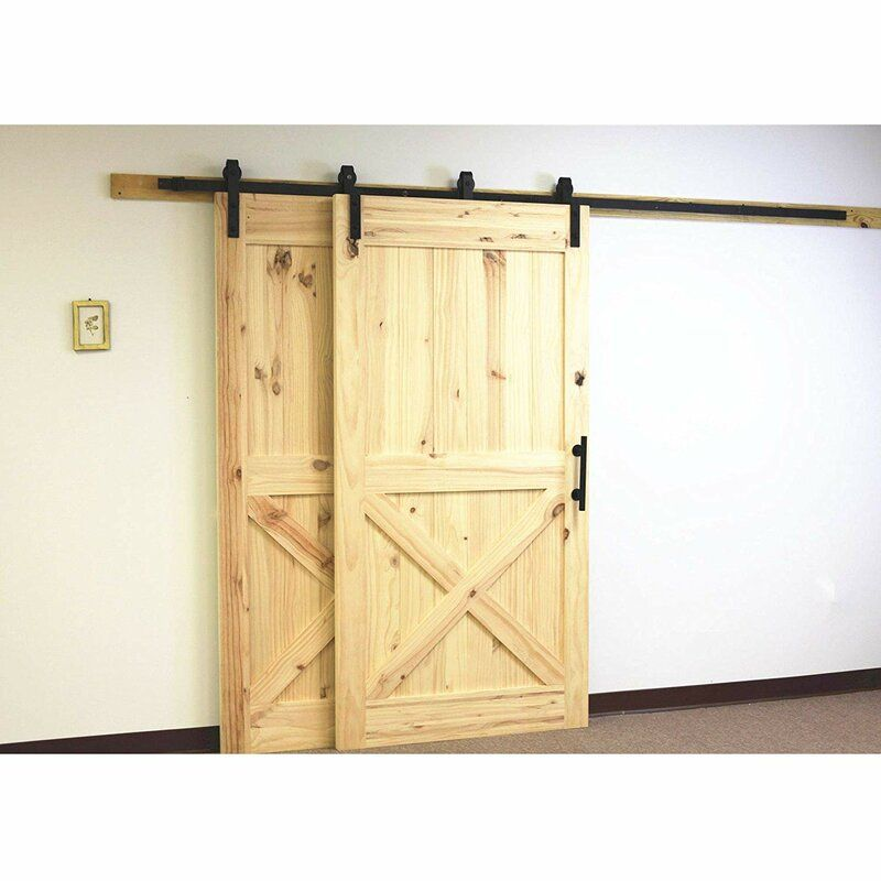 Single Bypass Double Door Barn Door Hardware Kit In 2020 Bypass Barn Door Hardware Bypass Barn Door Barn Door Handles