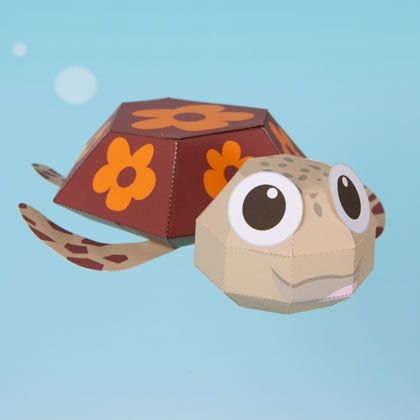 Squirt 3D Papercraft | 3d paper crafts, 3d paper and Finding nemo