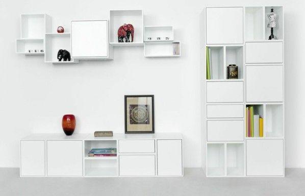 weiße Wohnwand Regal System Bilder Vasen moderne Dekoration - wohnwand dekorieren