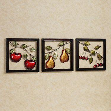 Fruit Medley Metal Wall Art Set | Kitchen metal wall art