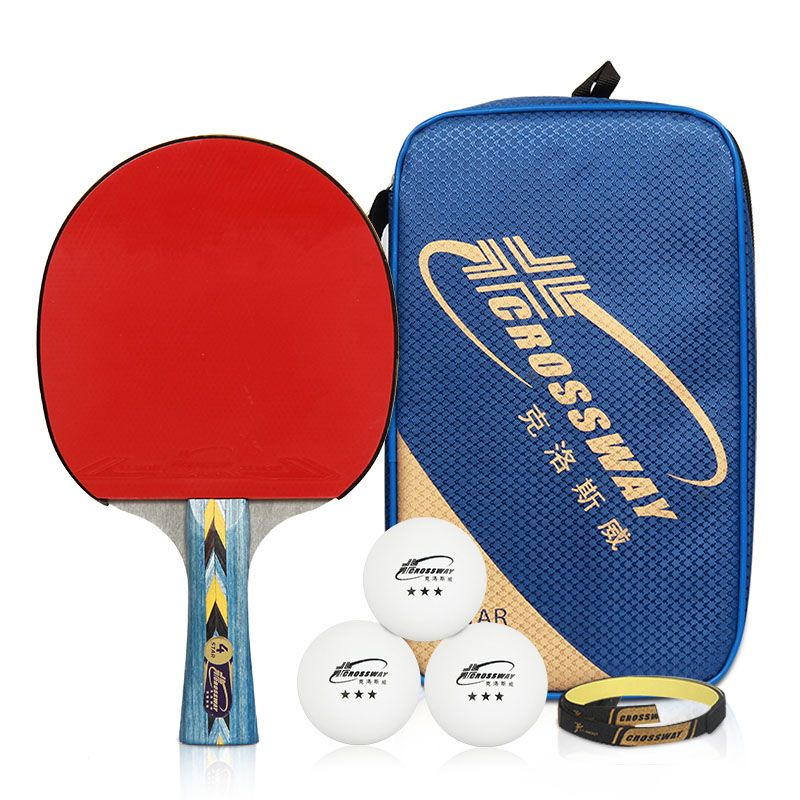 Crossway Professional 4-Star Table Tennis Racket + Case + Ball Horizontal  Grip Pimples-in Rubber Ping Pong Table Tennis Blades 1d793b91d19cc