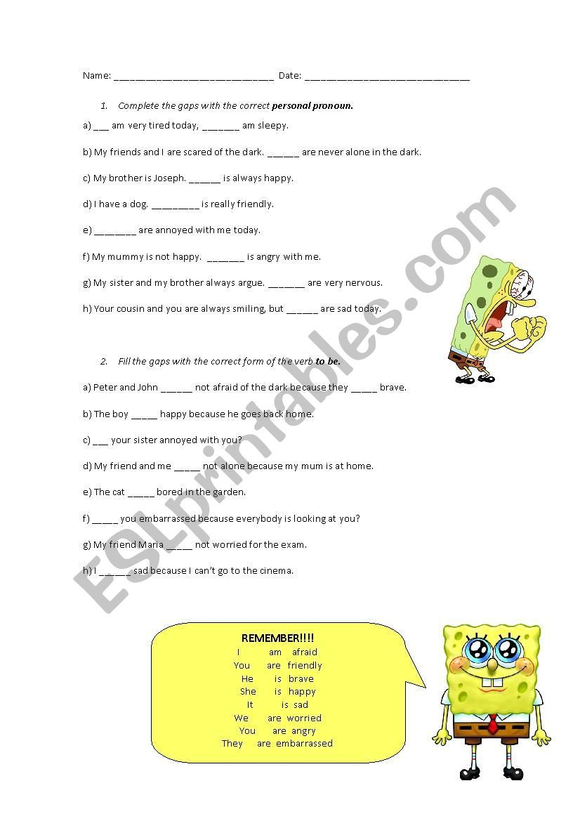 This Is A Worksheet To Practice The Personal Pronouns And The Verb To Be However I Recommend Using Thi Personal Pronouns Grammar Worksheets Vocabulary Skills