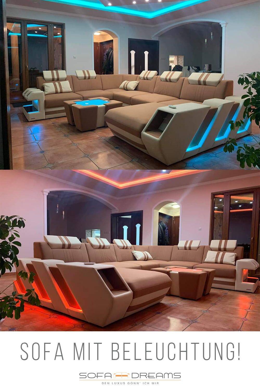 Luxus Wohnlandschaft Mit Beleuchtung Diese Stoff Wohnlandschaft Mit Integrierter Led Beleuchtung Und Modernem Desig In 2020 Wohnen Luxus Wohnzimmer Wohnzimmer Modern