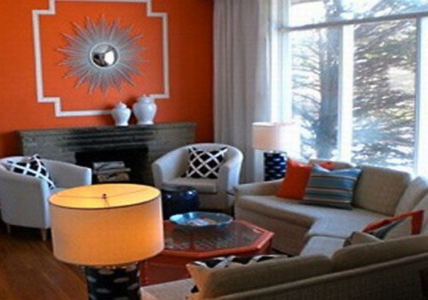 Living Room Color Schemes Orange And Grey