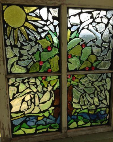 Recycled Glass Mosaics on Reclaimed