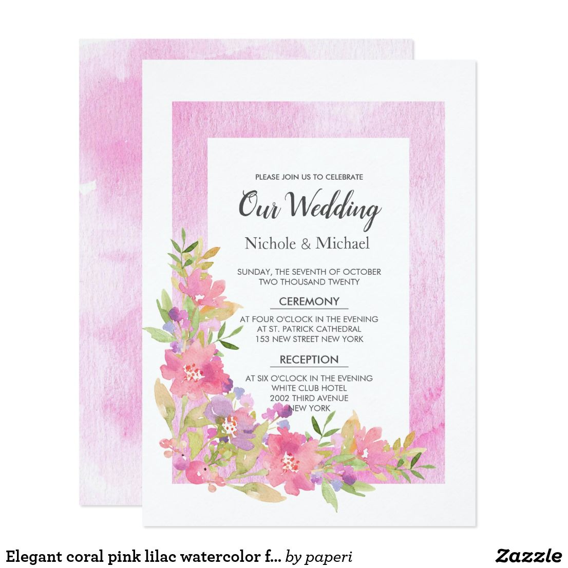 Elegant coral pink lilac watercolor floral Wedding Card | Floral ...