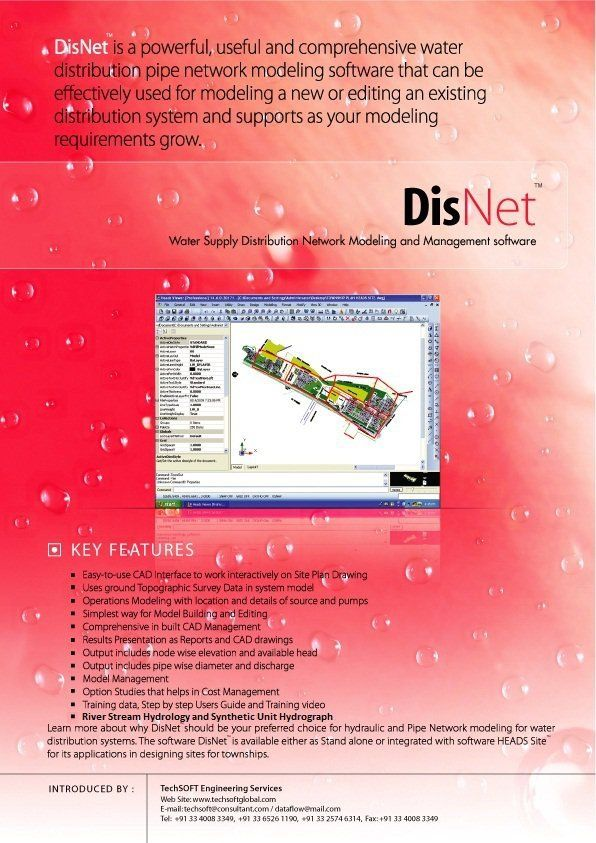 Disnet By Techsoft Engineering Services The Versatile Software For Site Design Water Distribution Sys Civil Engineering Software Civil Engineering Hydrology