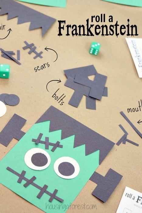Bastelidee für Halloween im Kindergarten und in der Kita - Bastel Dir einen Frankenstein  Halloween game for kids ~ Roll A Frankenstein #halloweencraftsfortoddlers
