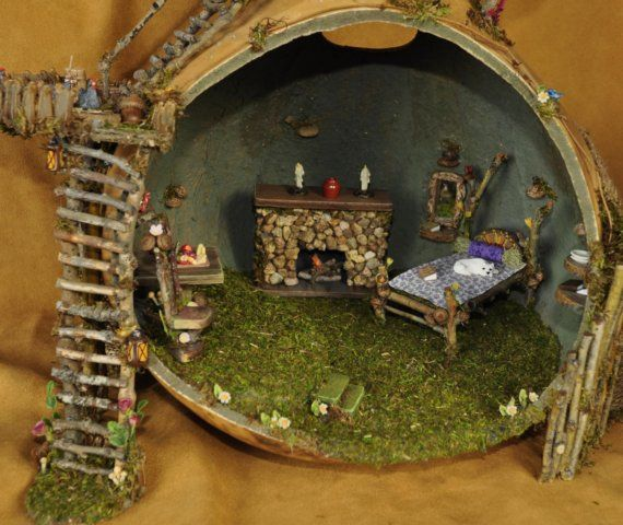 Fairy Gourd House Multi Level Indooor and by fairyfurnishings