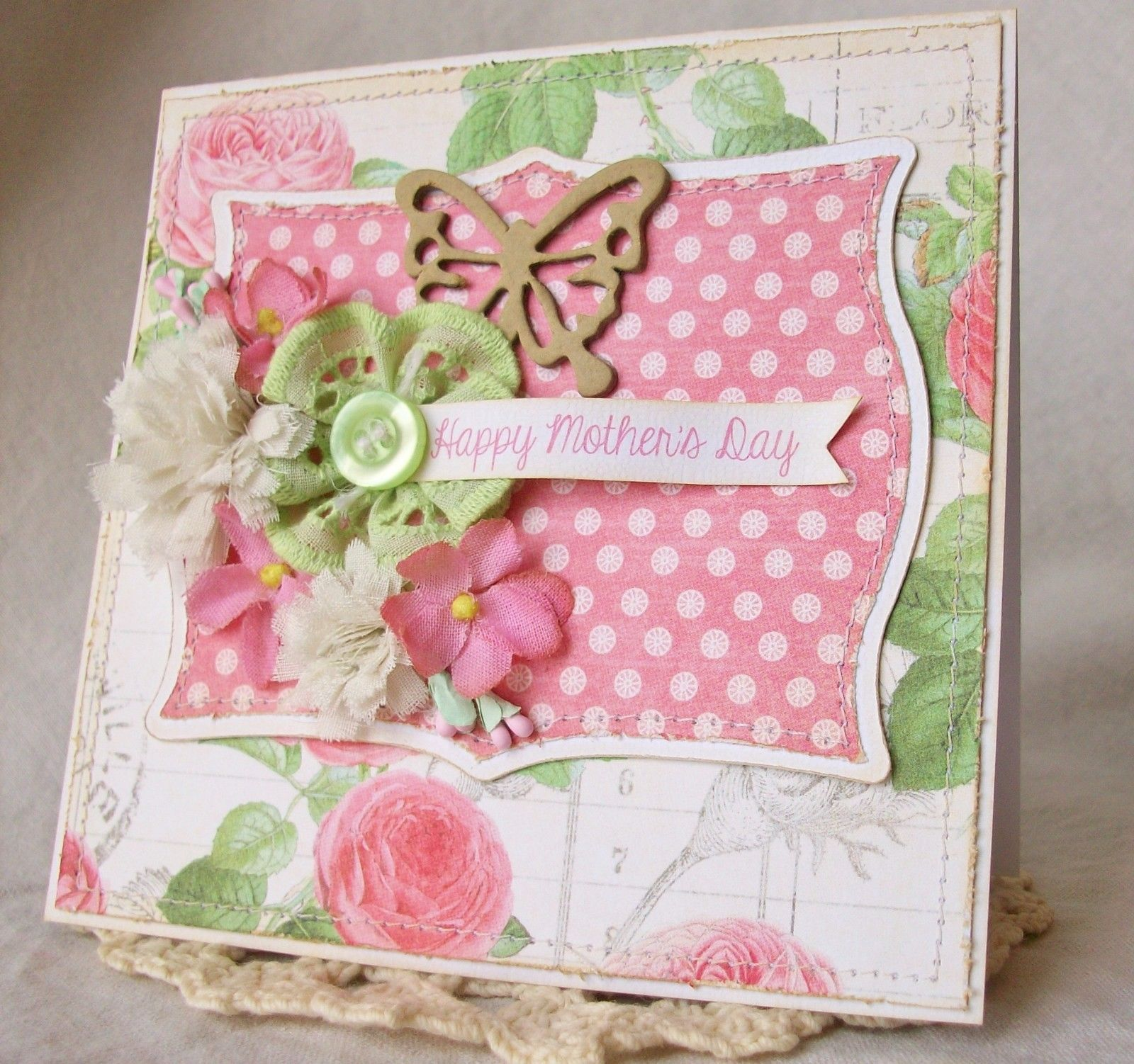 Handmade Mothers Day Card 4 Ocbrandy TPHH Greeting Keepsake Fabric Flowers G45