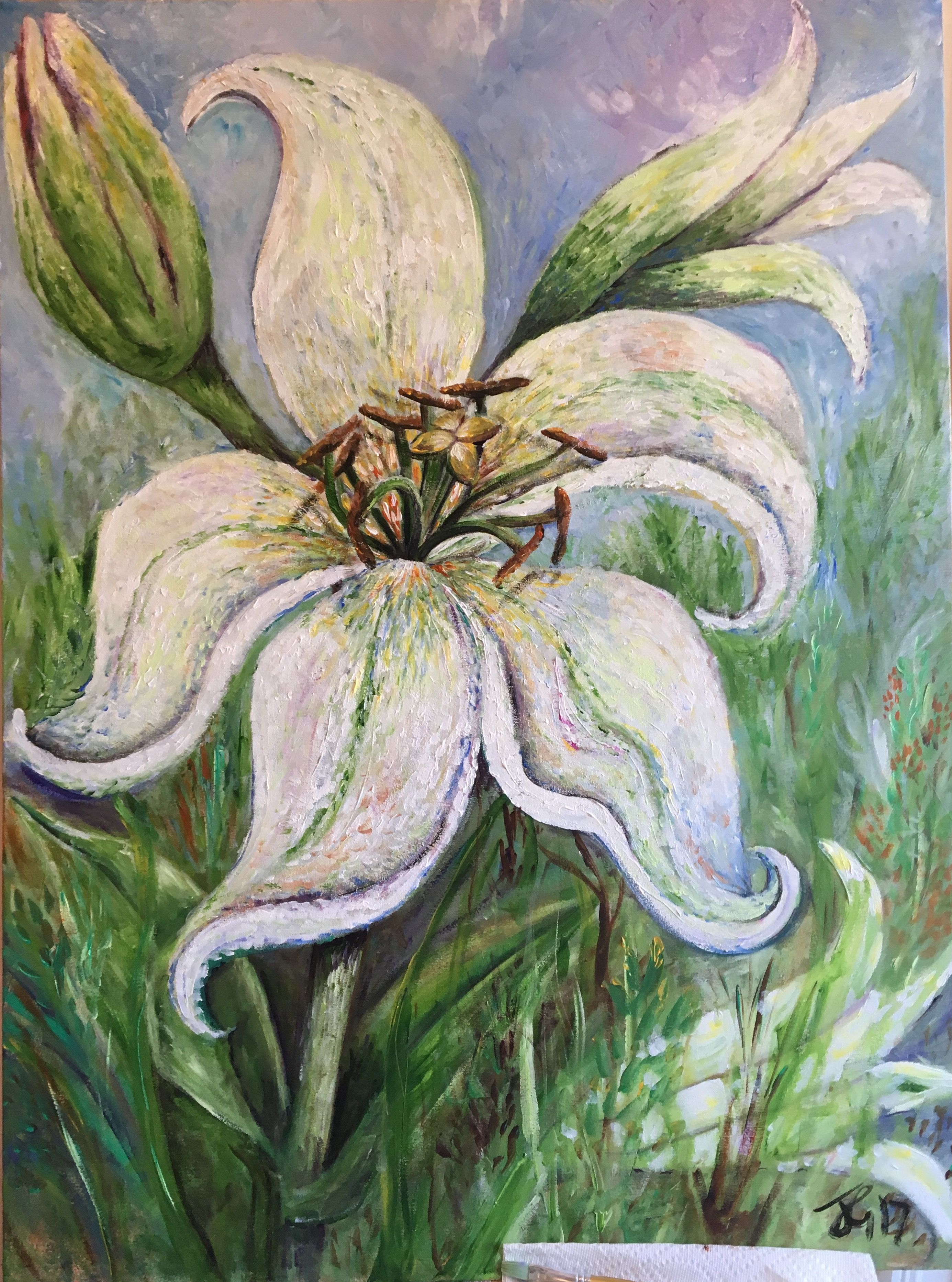 White Acrylic Large Flower Painting On Canvas By Jennie Goodenough