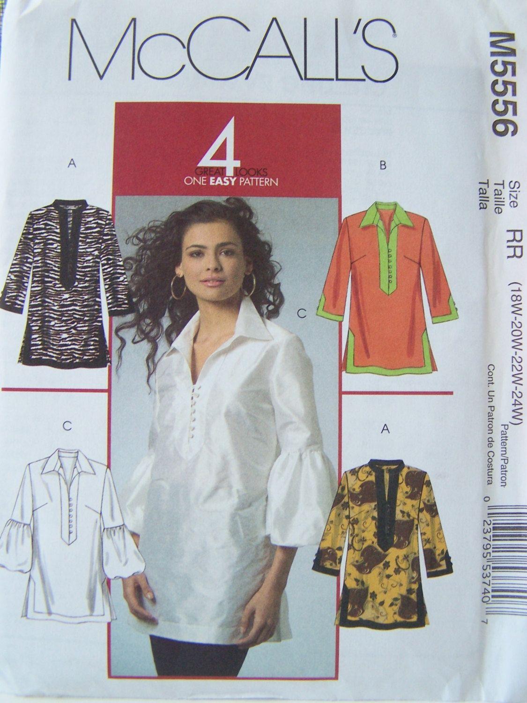 McCall\'s M5556 Women\'s Tunic Pattern - Boho Blouse, Women\'s Pullover ...