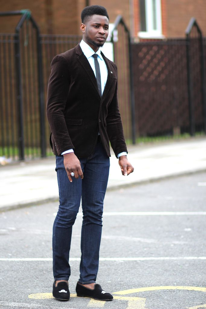 Men's Brown Velvet Blazer, Mint Dress Shirt, Navy Jeans, Black ...