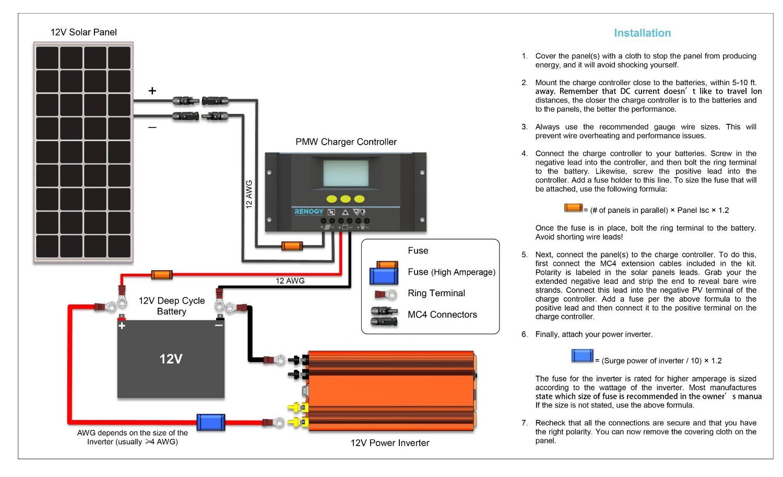 hight resolution of wrg 5624 renogy wiring diagram amazon com renogy 100 watt 100w monocrystalline photovoltaic pv 12v