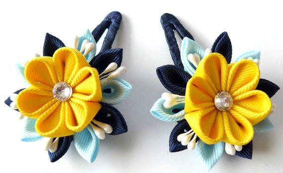 Kanzashi fabric flowers. Set of 2 hair snap clips. Lt. by JuLVa