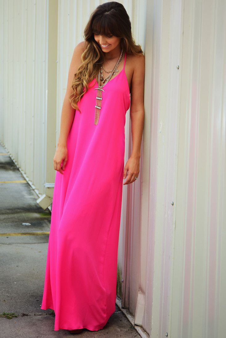 Hot pink maxi dress  Dinner For Two Maxi Dress Hot Pink shophopes  Mad For Maxis