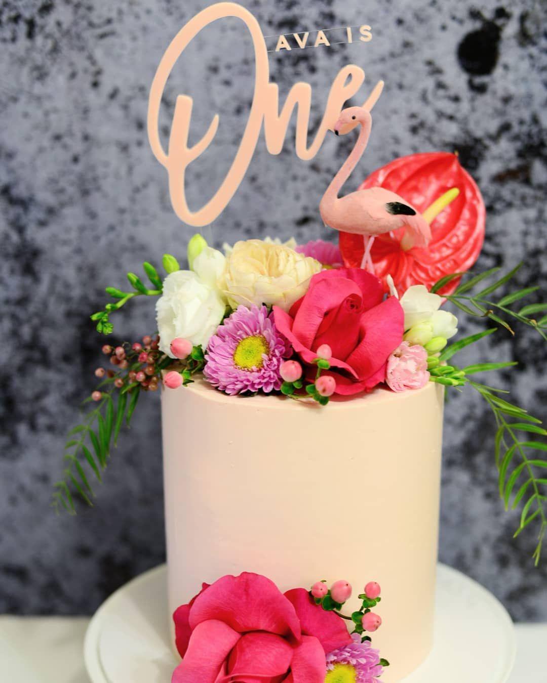 Flamingo cake for avas first birthday cake topper