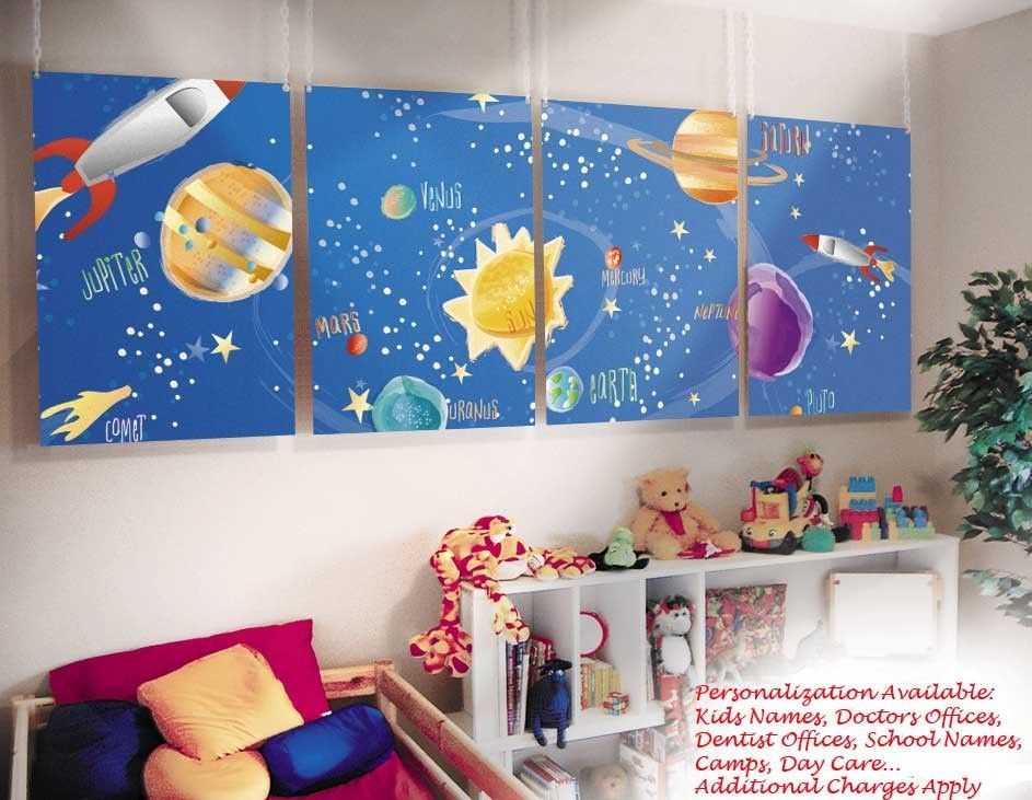 Kids bedroom wall mural outer space galaxy theme quinns for Outer space kids room